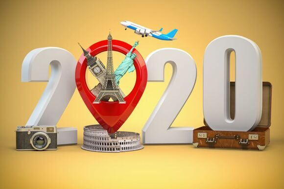 2020 Happy new year. Number 2020 and pin with most popular landm